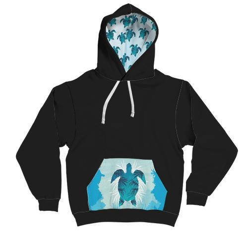 Custom Design Sea Turtle AOP Contrast Hoodie - Get Set Style Metro