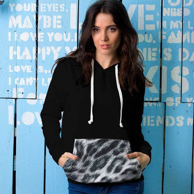 Leopard Black Snow All Over Print Contrast Hoodie - Get Set Style Metro