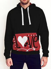 Love All Over Print Contrast Hoodie - Get Set Style Metro