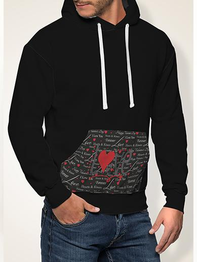 Love In Black All Over Print Contrast Hoodie - Get Set Style Metro