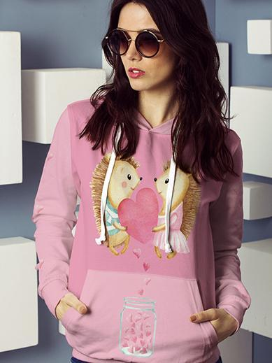 Hedgehog Valentines All Over Print Hoodie - Get Set Style Metro