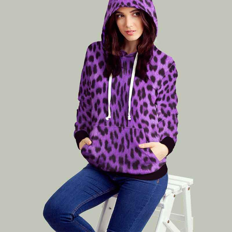 Leopard Purple Snow All Over Print Hoodie - Get Set Style Metro