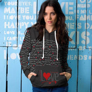 Love In Black Design All Over Print Hoodie - Get Set Style Metro