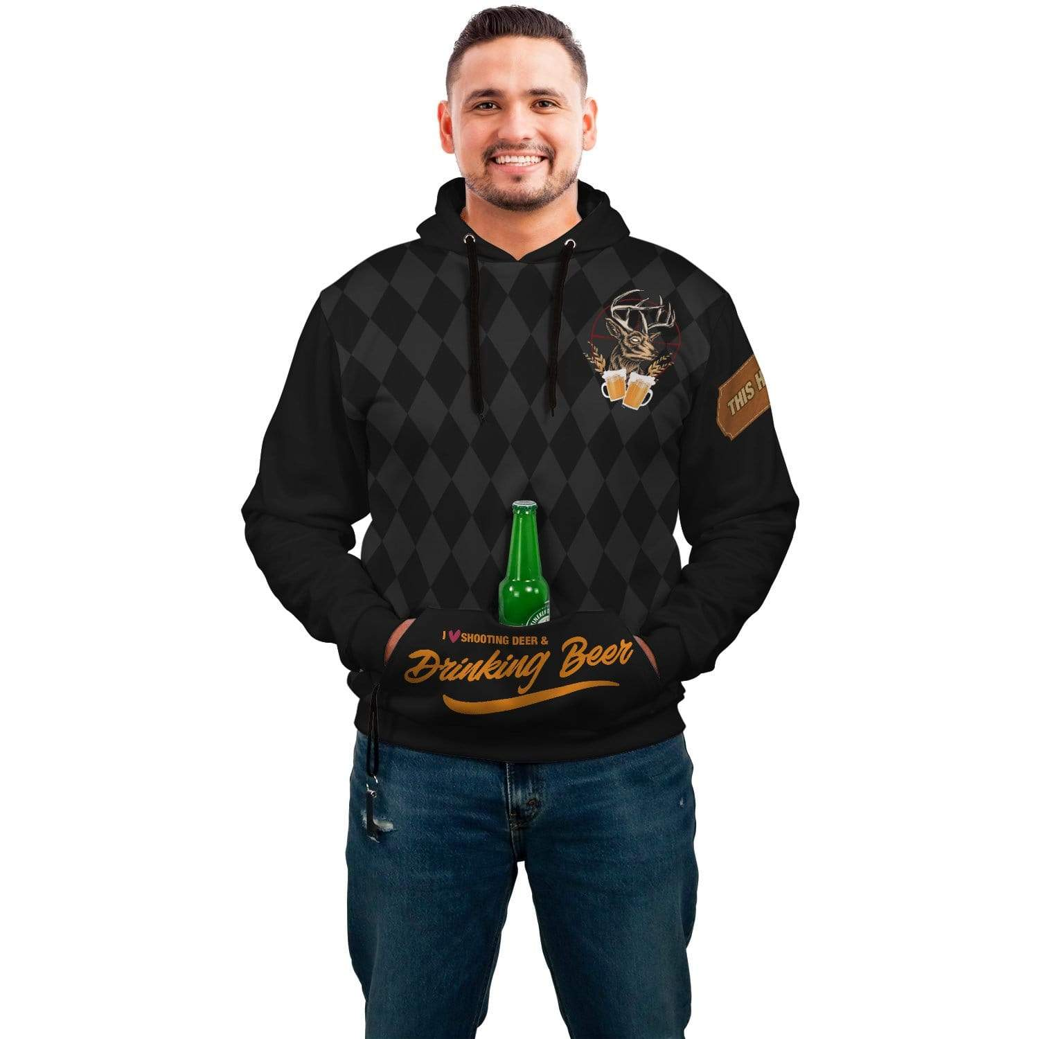 I Love Deer And Beer AOP Pop Top Hoodie - Get Set Style Metro