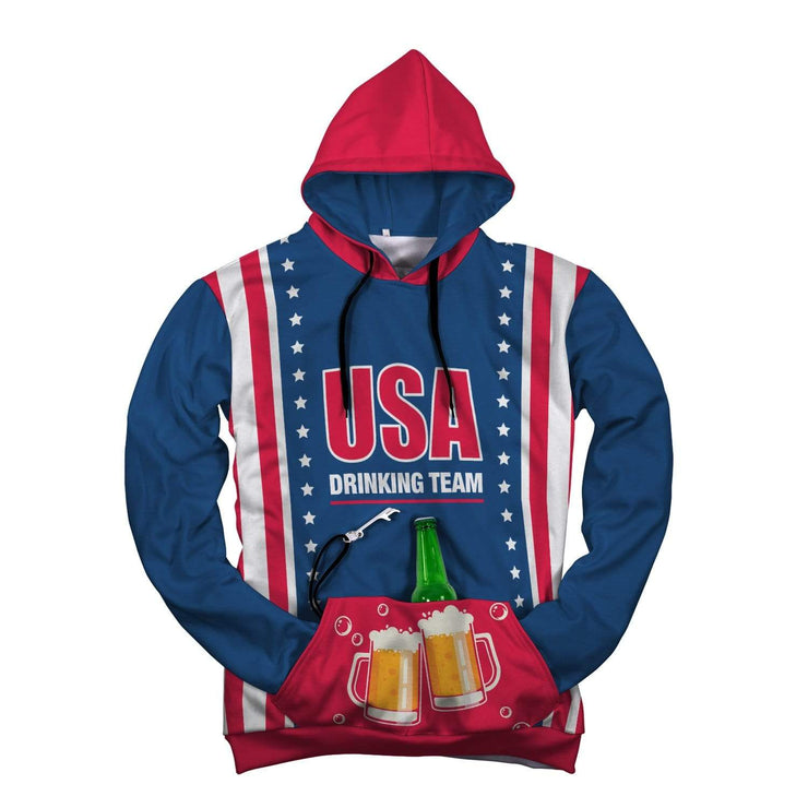 GetSetStyleMetro AOP Pop Top Hoodie USA Drinking Team AOP Pop Top Hoodie
