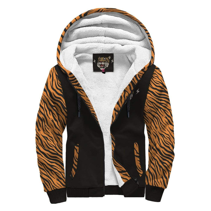 Tiger AOP Sherpa Hoodie With Your Name Inside Print - Get Set Style Metro