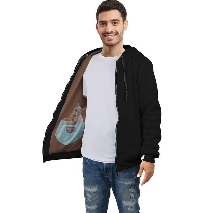 Personalized Black AOP Zip Hoodie with Cats Inside Print - Get Set Style Metro