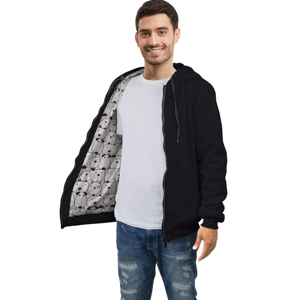 GetSetStyleMetro AOP Zip Hoodie XXS Personalized Black AOP Zip Hoodie with Dogs Inside Print