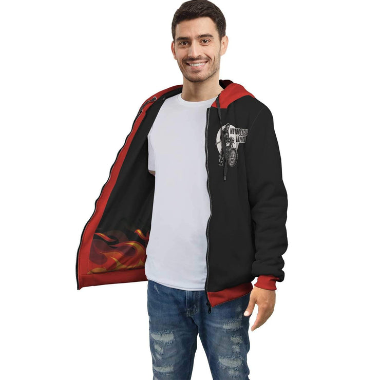 Personalized Motorcycle Lover AOP Zip Hoodie with Inside Print - Get Set Style Metro