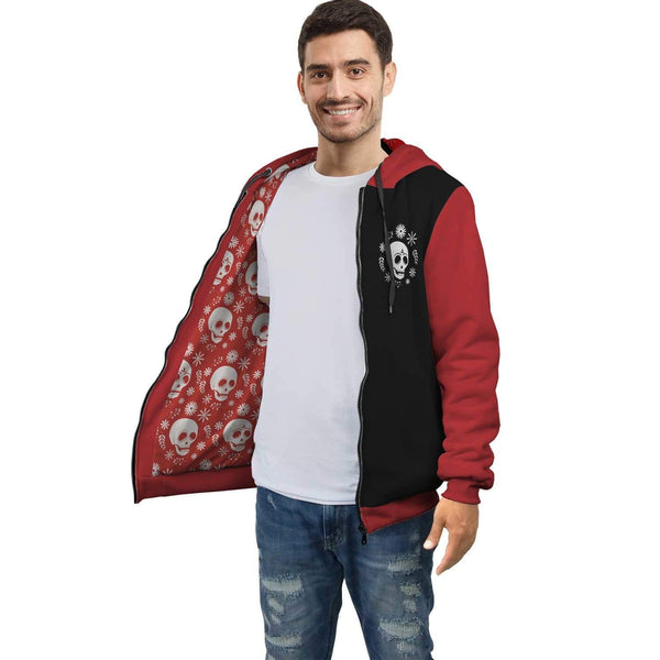 Personalized Skulls AOP Zip Hoodie with Inside Print - Get Set Style Metro