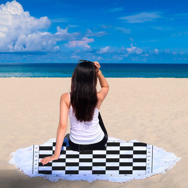 Chess Custom Design Rounded Beach Towel - Get Set Style Metro