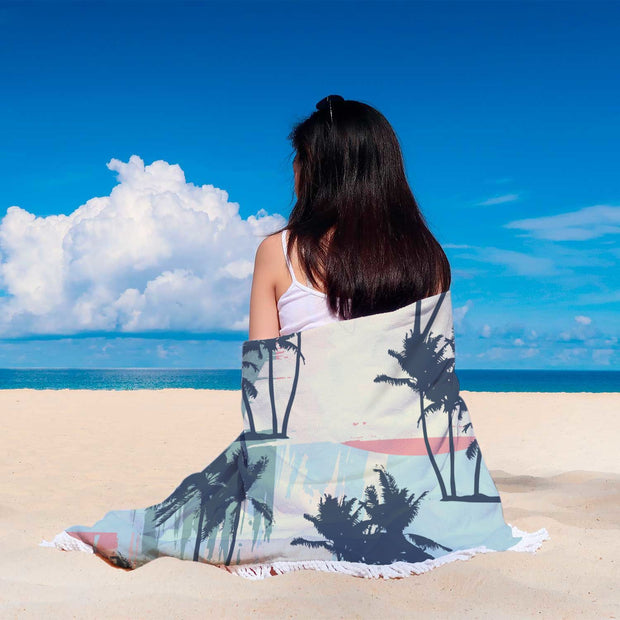 Coconut Tree Design Rounded Blankets - Get Set Style Metro