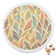 Colorful Feather Custom Design Rounded Blankets - Get Set Style Metro