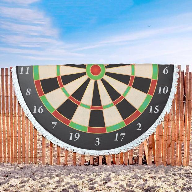 Dart Board Custom Design Rounded Beach Towel - Get Set Style Metro