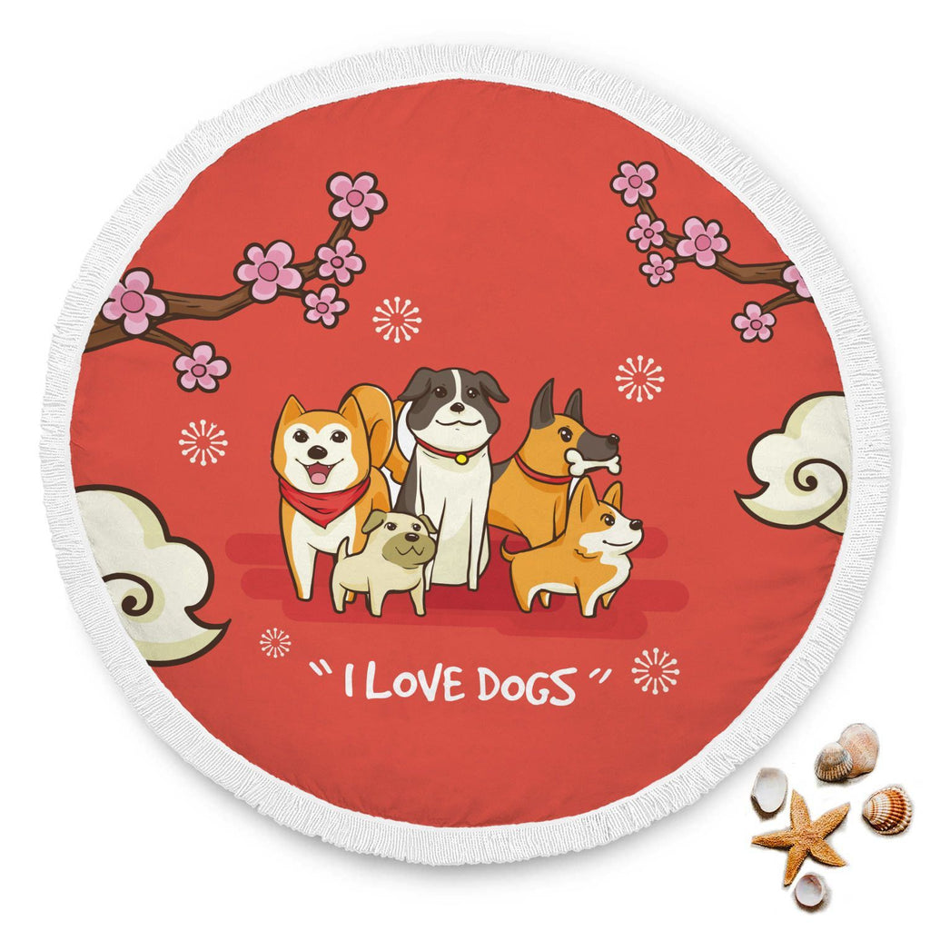 I Love Dogs Rounded Beach Towel - Get Set Style Metro