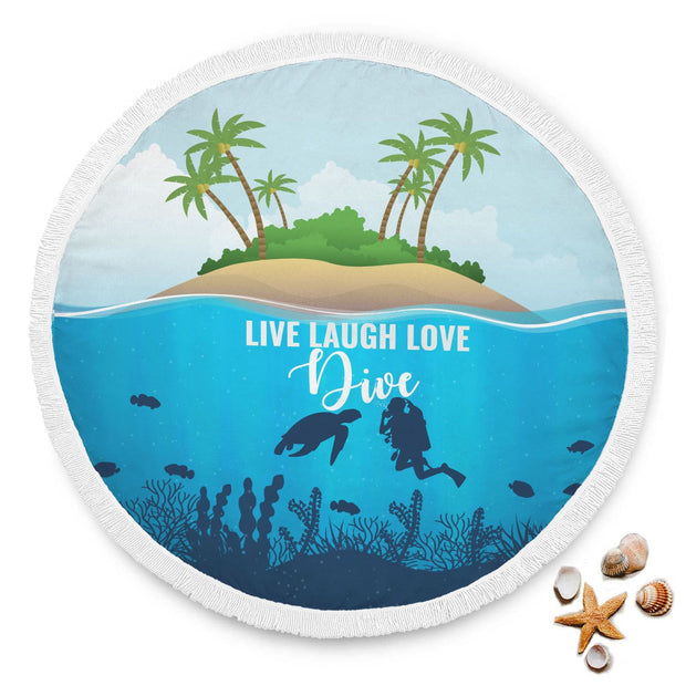 Scuba Diving Custom Design Rounded Beach Towel - Get Set Style Metro