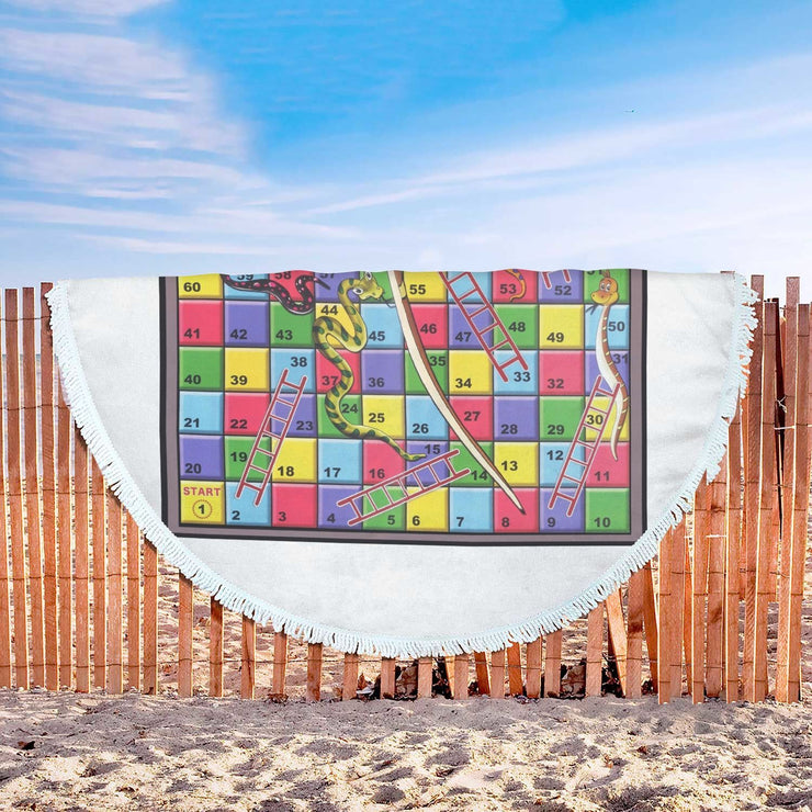 Snakes and Ladders Custom Design Rounded Beach Towel - Get Set Style Metro