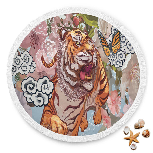 Tiger And Butterfly During Cherry Blossom Illustration Rounded Blanket - Get Set Style Metro