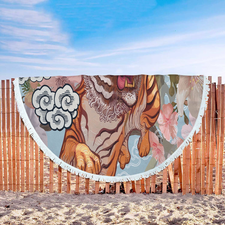 GetSetStyleMetro Beach Blanket Tiger And Butterfly During Cherry Blossom Illustration Rounded Blanket