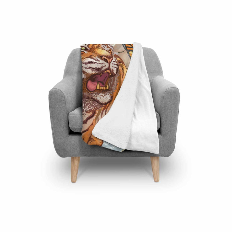 "GetSetStyleMetro Blanket Adult 70""x44"" Tiger And Butterfly During Cherry Blossom Illustration Normal Blanket"