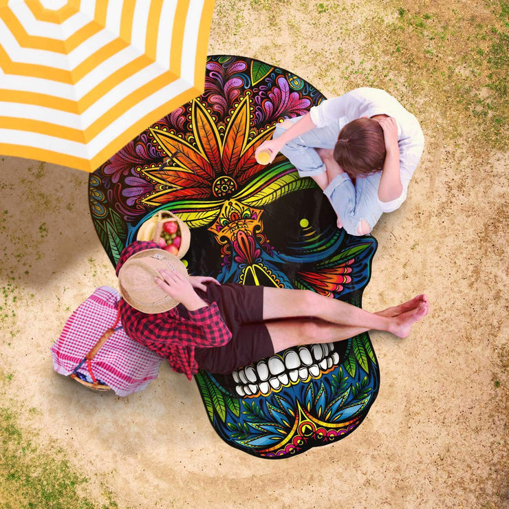 Colourful Skull Freeform Beach Towel - Get Set Style Metro