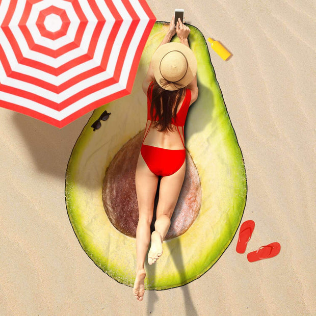 "GetSetStyleMetro Freeform Beach Towel XL - 57.1"" x 70.9 / 145cm x 180cm Yummy Avocado Freeform Beach Towel"