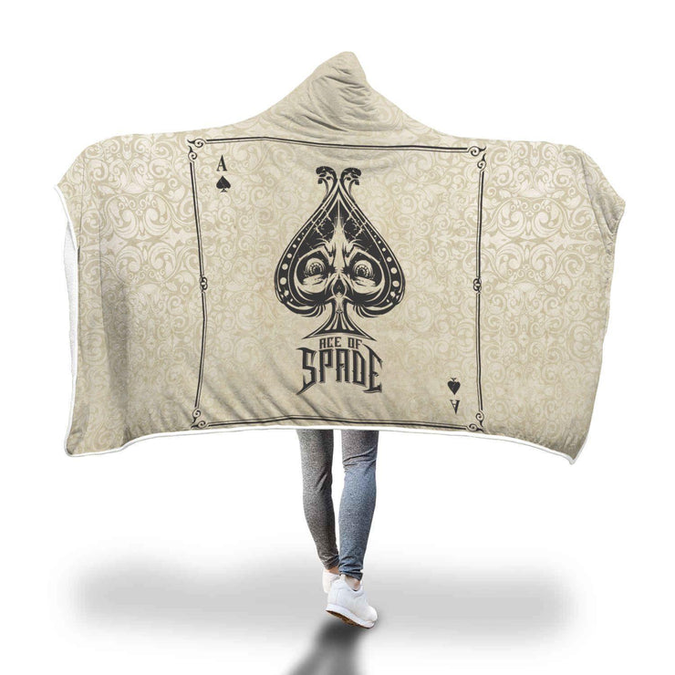 Ace Of Spades Design Hooded Blanket - Get Set Style Metro