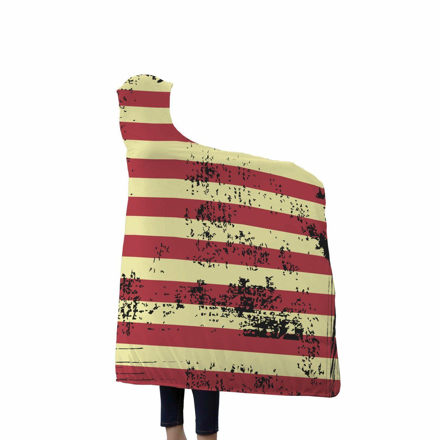 American Flag Custom Designed Hooded Blanket - Get Set Style Metro