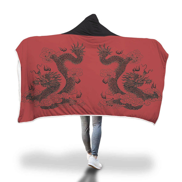 Awesome Double Dragon Design Hooded Blanket - Get Set Style Metro