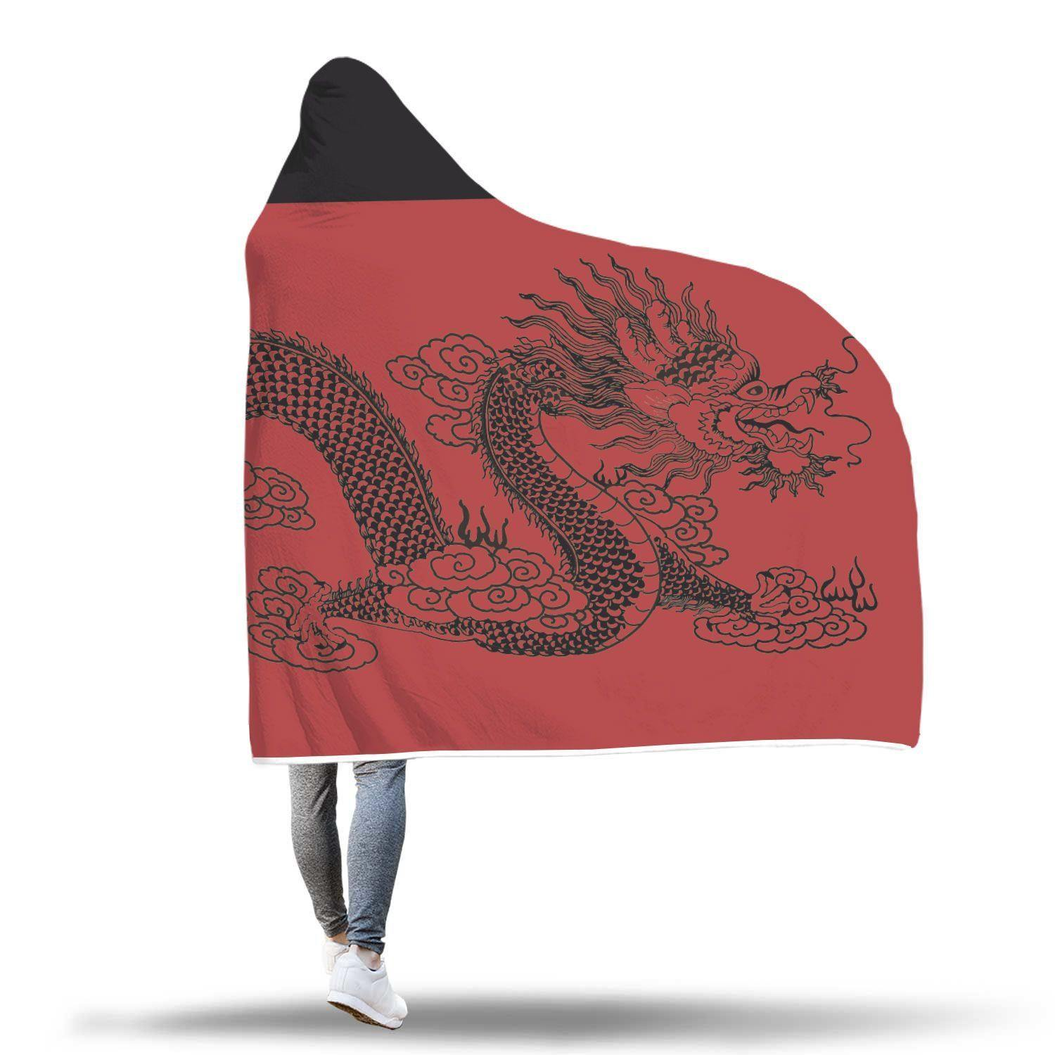Awesome Dragon Design In Red Hooded Blanket - Get Set Style Metro