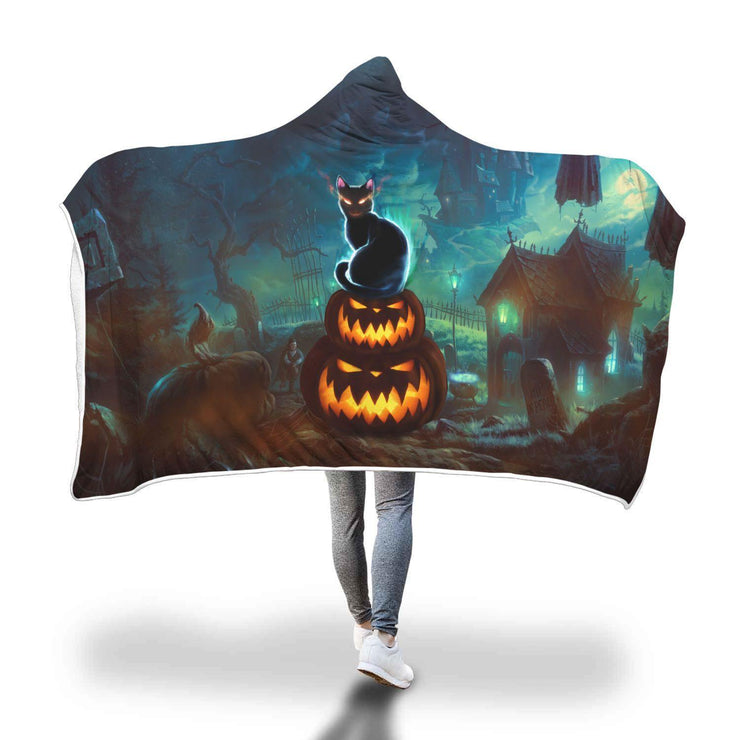Black Cat and Pumpkins Halloween Illustration Hooded Blanket - Get Set Style Metro