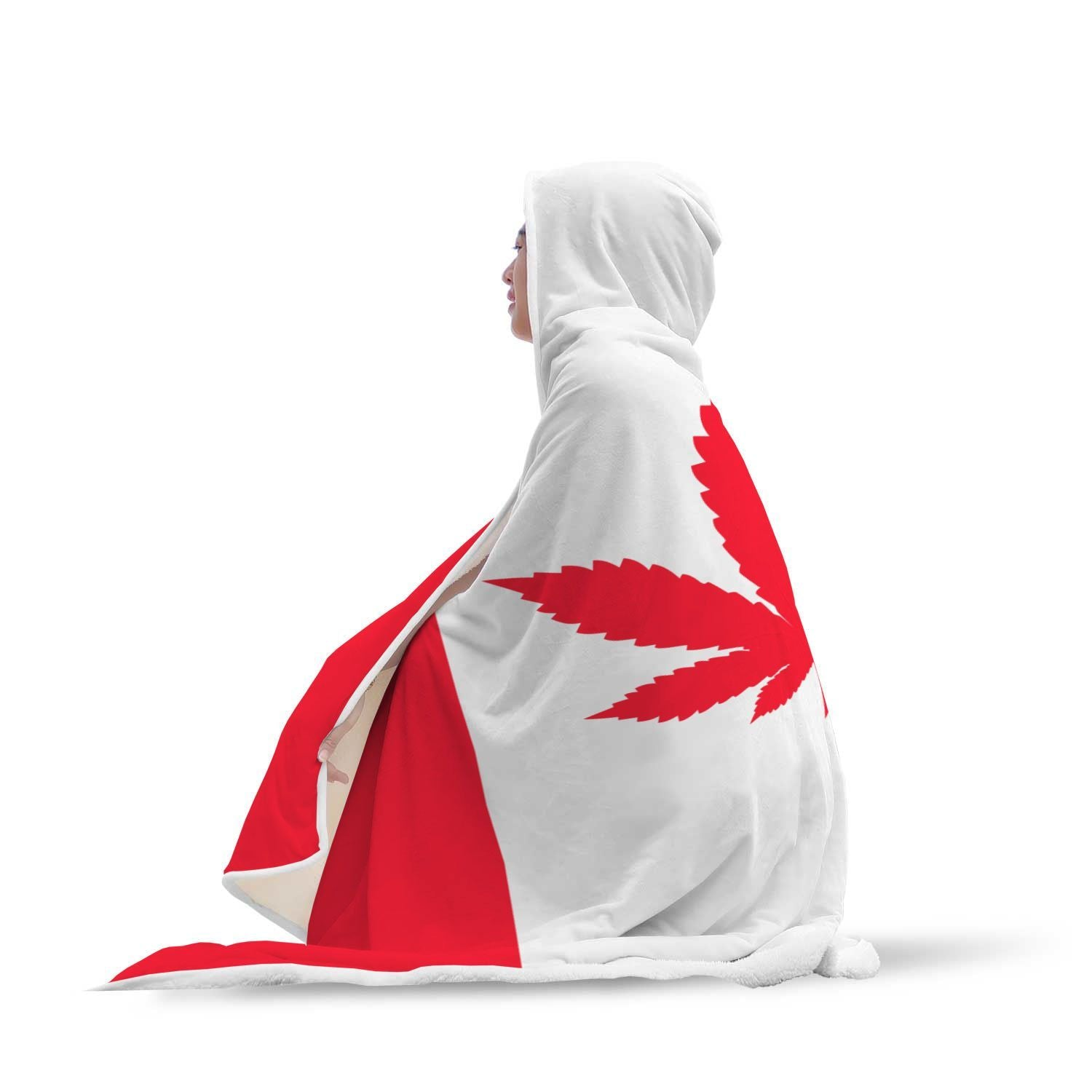 Canada Flag With Weéd Design Hooded Blanket - Get Set Style Metro