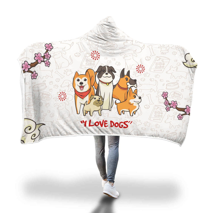 Dog Lover Patterned Custom Designed Hooded Blanket - Get Set Style Metro