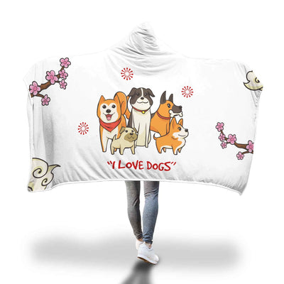 Dog Lover White Custom Designed Hooded Blanket - Get Set Style Metro