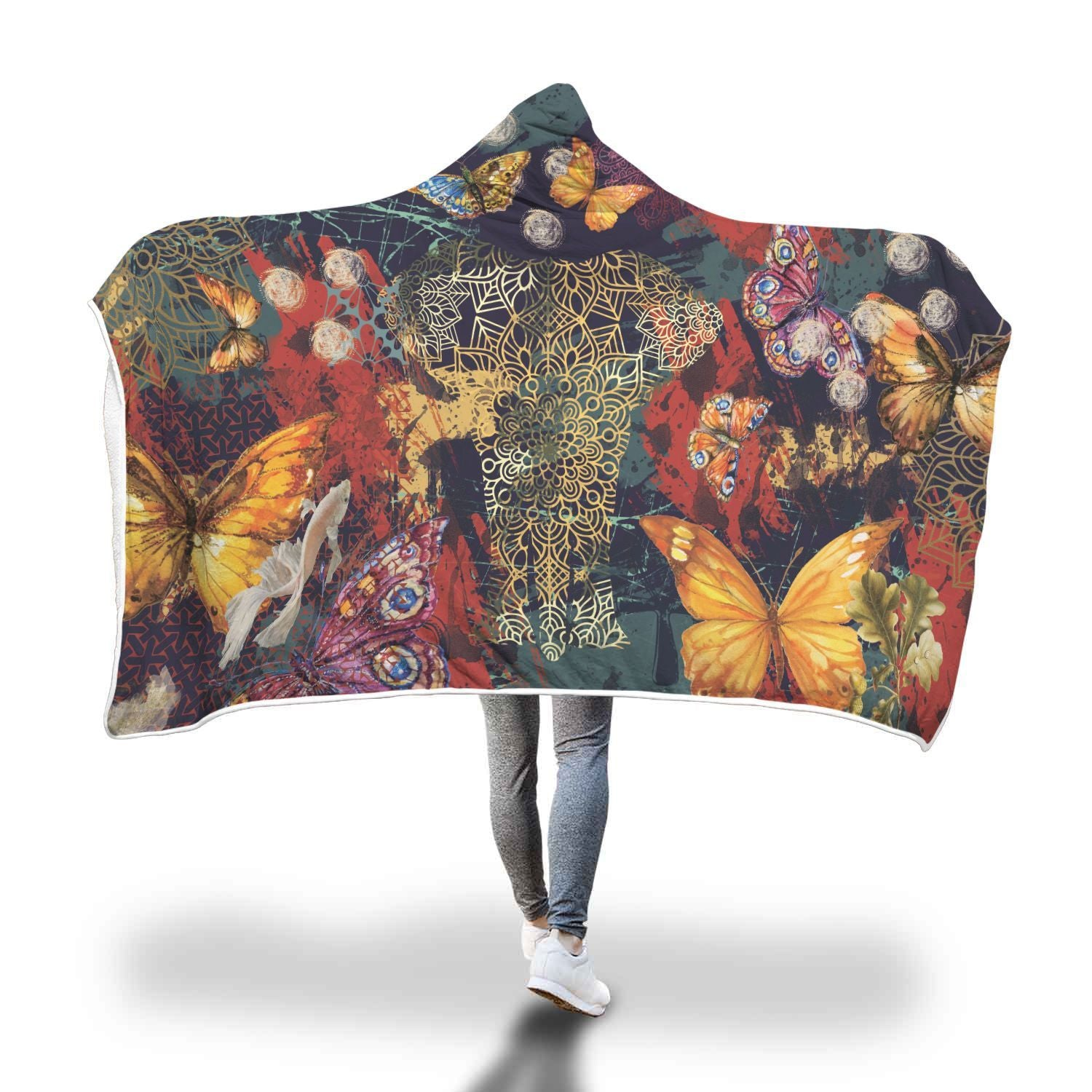 Elephant Spirit And Butterflies Hooded Blanket - Get Set Style Metro