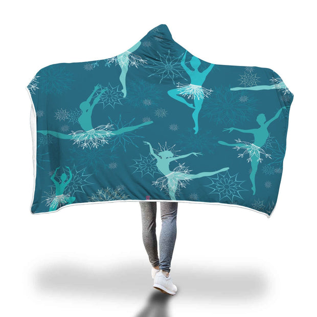 Fabulous Ballerina In Blue Silhouette Hooded Blanket - Get Set Style Metro