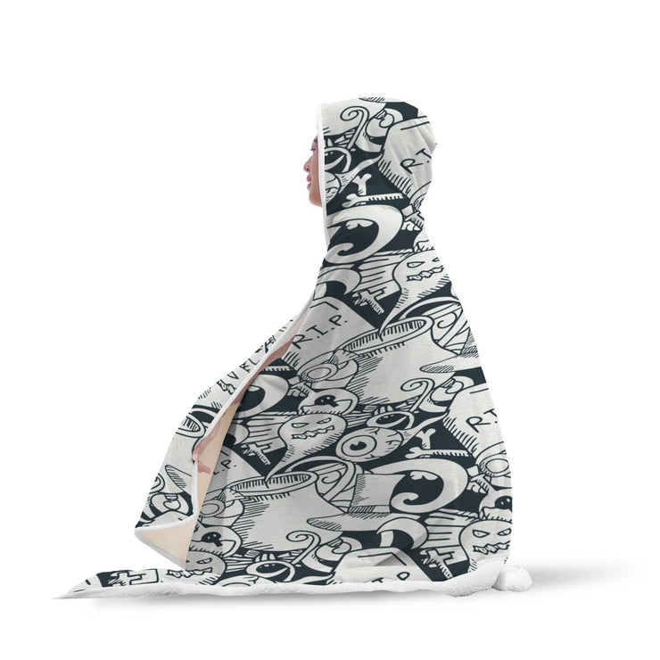 Halloween Ghost Pattern Hooded Blanket - Get Set Style Metro