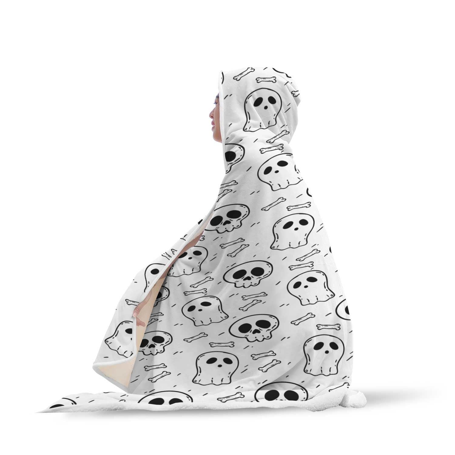 Halloween Skulls Pattern in White Background Hooded Blanket - Get Set Style Metro