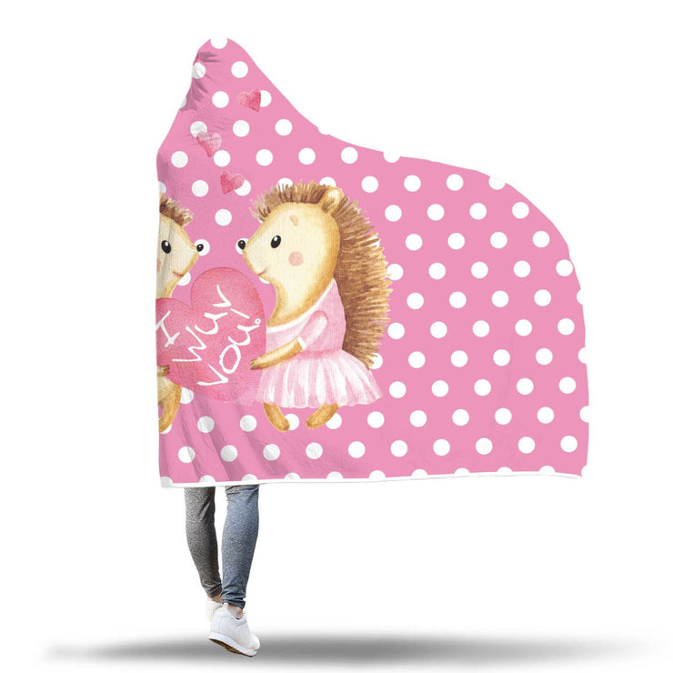 Hedgehog Valentines Hooded Blanket - Get Set Style Metro