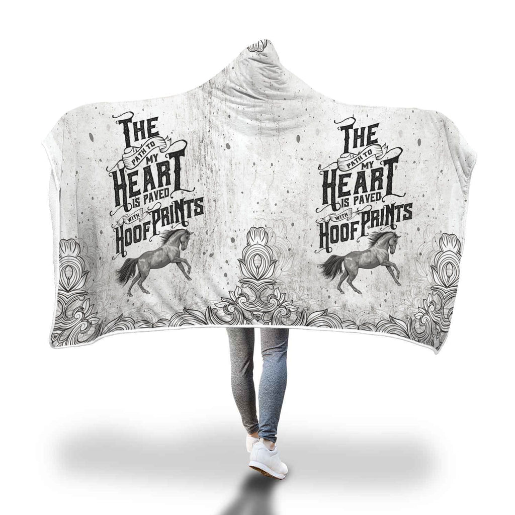 Horse Hoof Prints Hooded Blanket - Get Set Style Metro