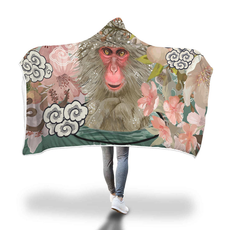Japanese Macaques In Onsen During Cherry Blossom Hooded Blanket - Get Set Style Metro