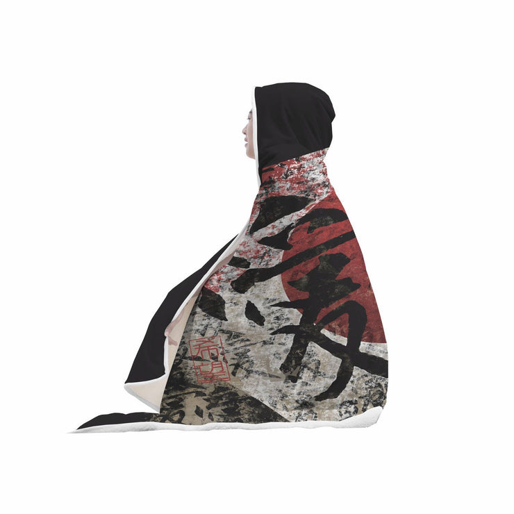 Kanji Peace, Love and Hope Hooded Blanket 1 - Get Set Style Metro