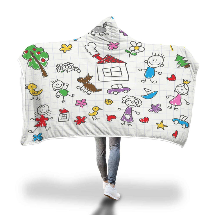 Kids Drawing Design Hooded Blanket - Get Set Style Metro