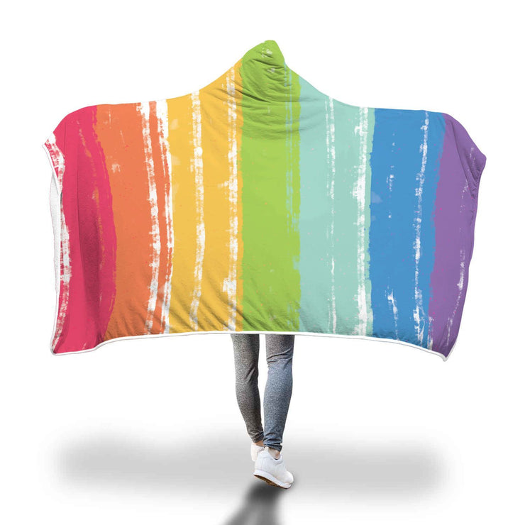 LGBT Flag Watercolor Finished Hooded Blanket - Get Set Style Metro