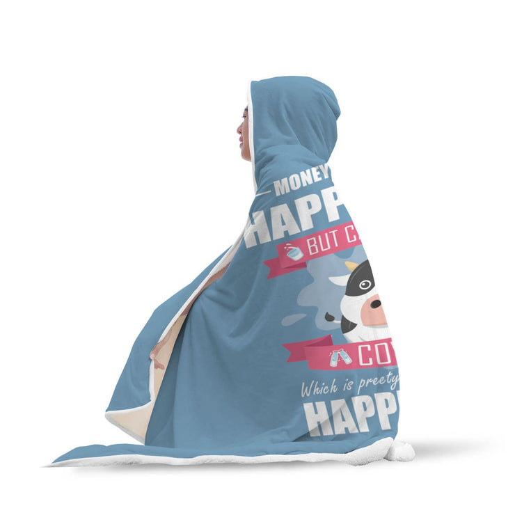 Money Can't Buy Happiness But Can Buy Cows Design Hooded Blanket - Get Set Style Metro