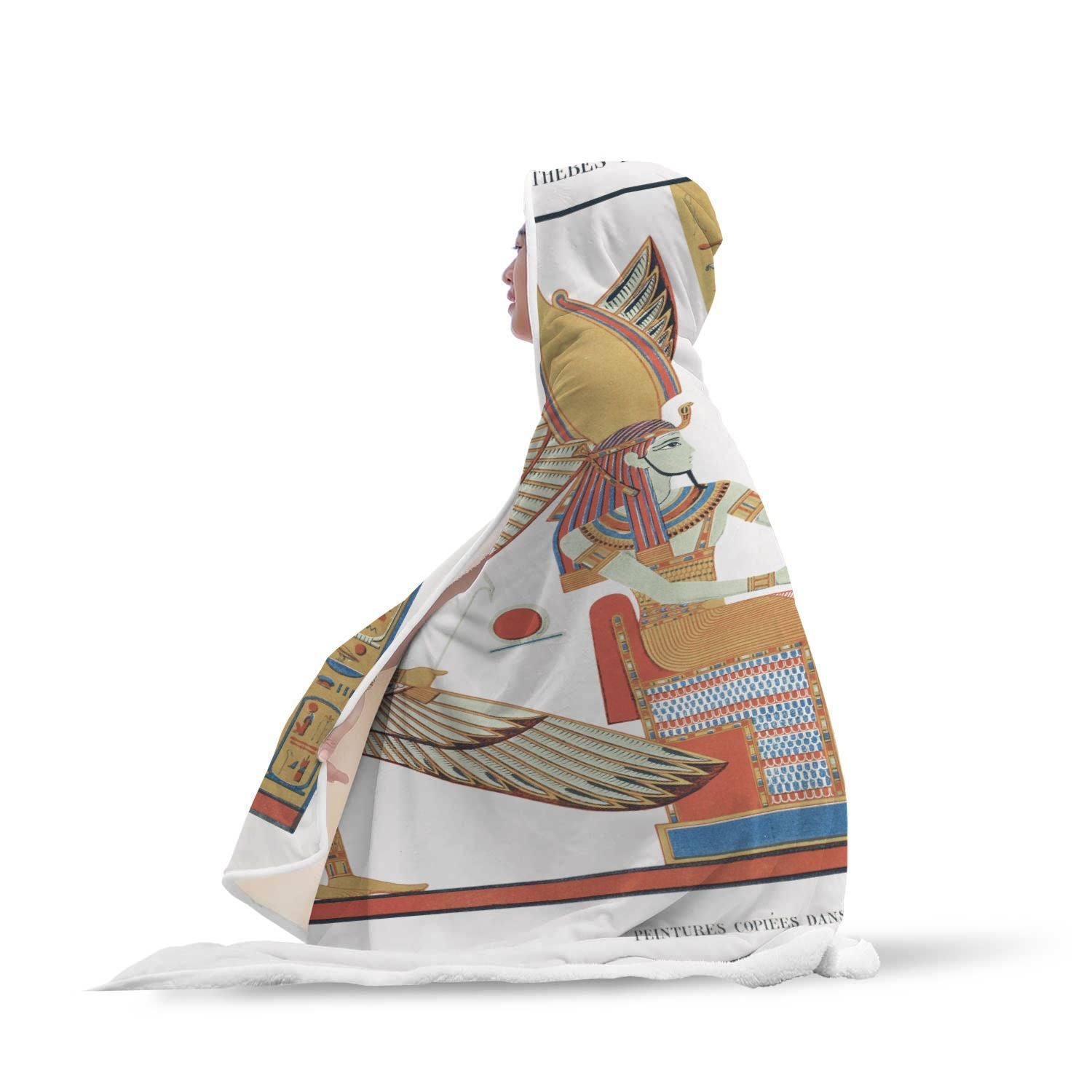Paintings From Ramses IV Maimonides by Jean François Champollion Hooded Blanket - Get Set Style Metro