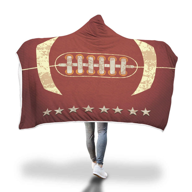 Personalized American Football With Stars Hooded Blanket - Get Set Style Metro
