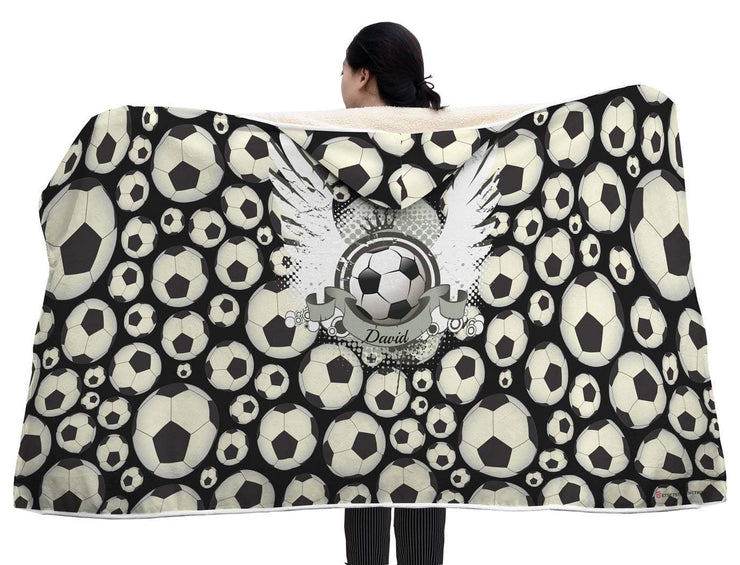 Personalized Football Soccer With Wings Hooded Blanket - Get Set Style Metro