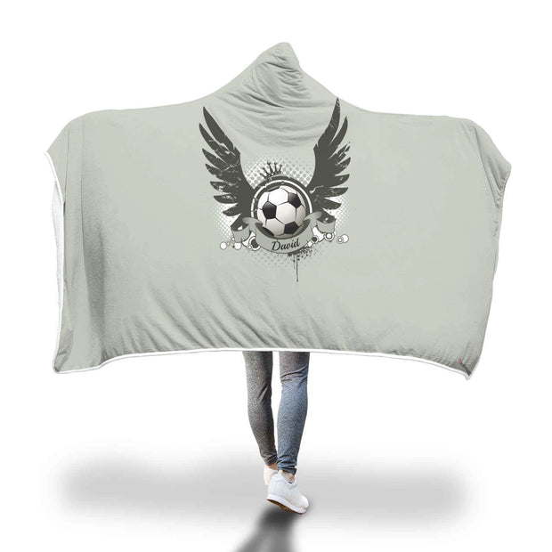 Personalized Football Soccer With Wings In Plain Gray Hooded Blanket - Get Set Style Metro
