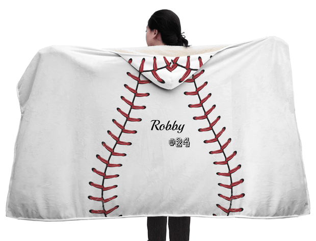 Personalized Softball Baseball White Hooded Blanket - Get Set Style Metro